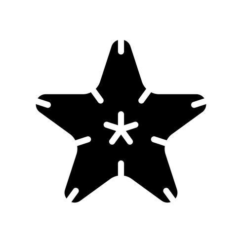 Vecteur d'étoile de mer, icône de style solide connexe tropical