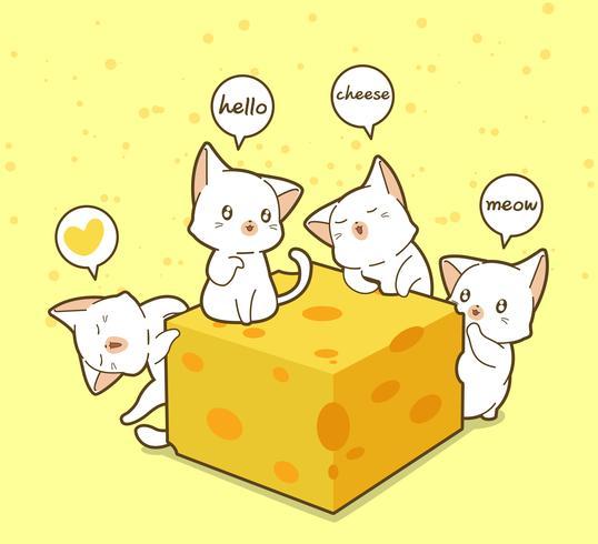 Kawaii katter och ost