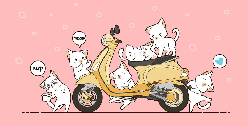 6 cute cats and yellow motorcycle in cartoon style. vector