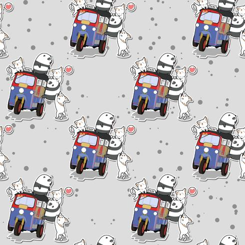 Seamless kawaii pandas and cats with motor tricycle pattern