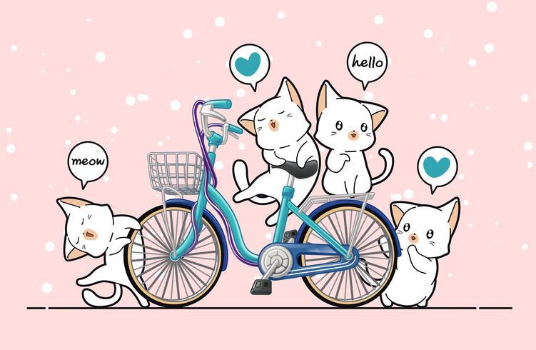 Kawaii chats et vélo en style cartoon.