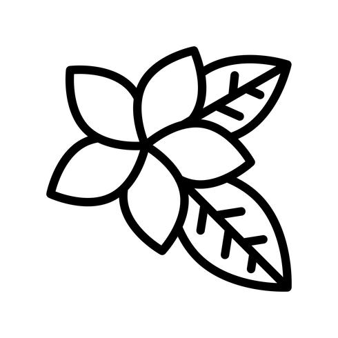Vector de Plumeria, icono de estilo de línea relacionada tropical