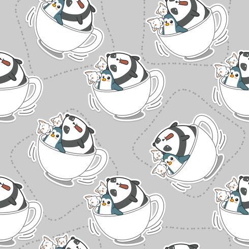 Animali senza cuciture nel modello del cappuccio del caffè.