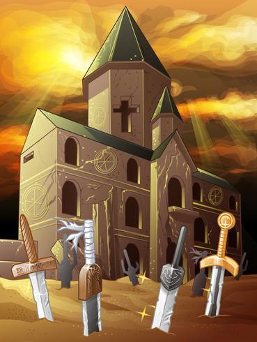 Oude kapel in cartoon stijl.