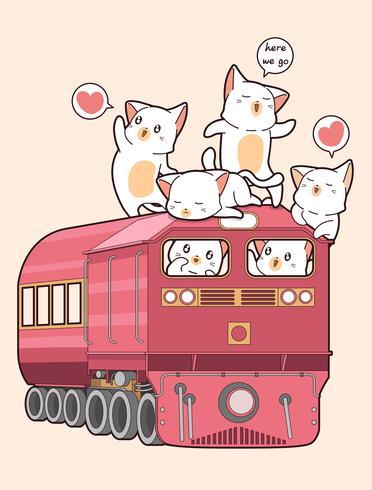 Kawaii katt på tåget vektor