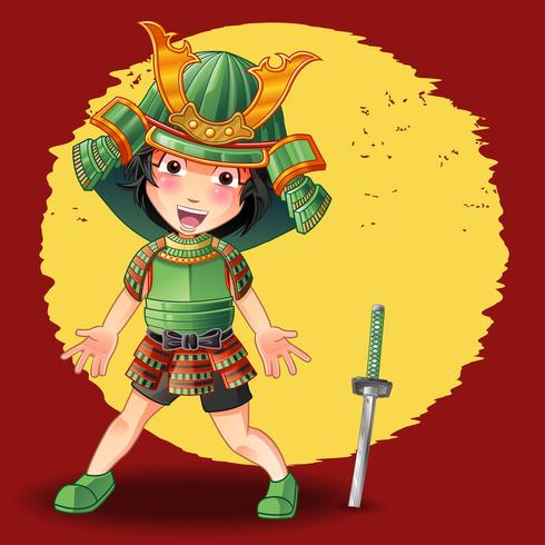 Samurai karakter in cartoon stijl.