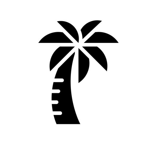 Palm tree vector, tropical related solid style icon vector