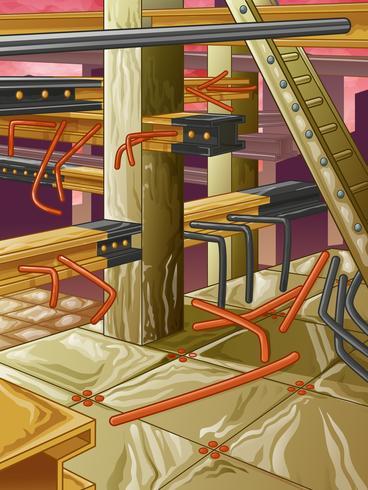 Verlaten fabriek in cartoonstijl.