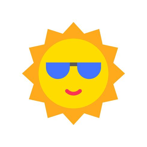 Sun vector, tropical related flat style icon