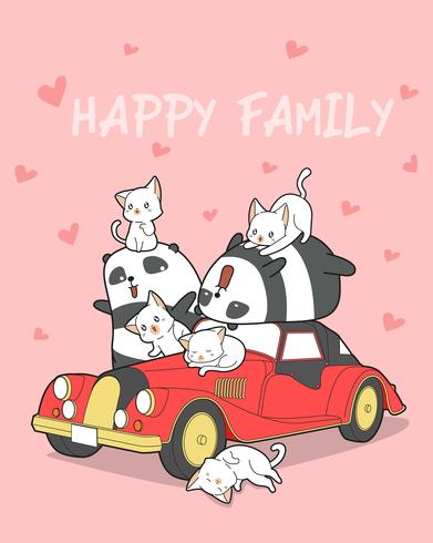 Animal family and red car in cartoon style.