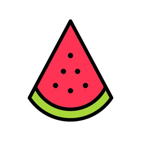 Vetor de fatia de melancia, ícone de estilo preenchido relacionado tropical