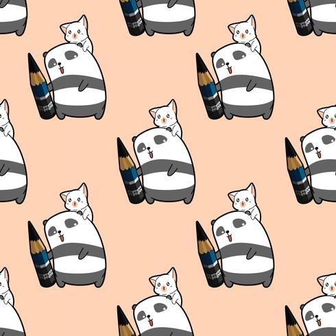 L'artista senza cuciture del panda sta tenendo la matita con il modello del carattere del gatto vettore