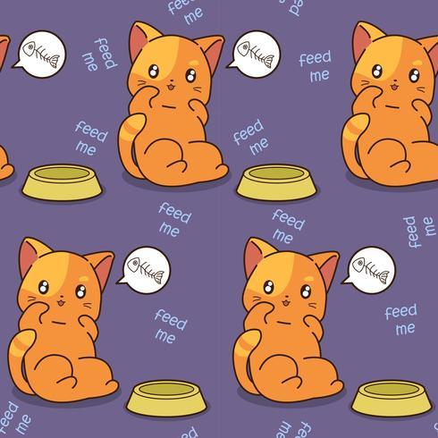 Le chat sans couture est motif affamé.