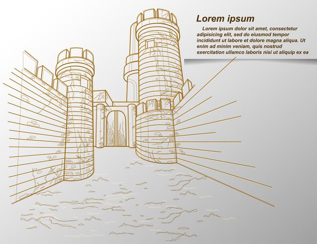 Sketch of fortress outline in cartoon style.