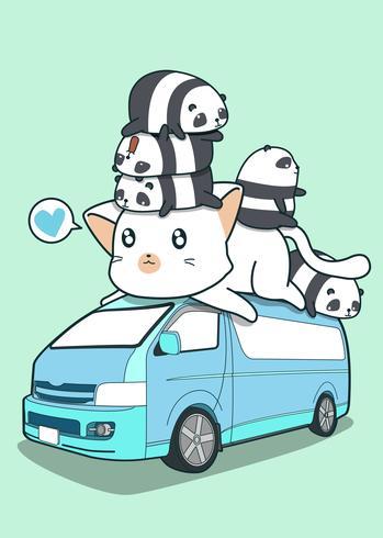 Gato gigante y pandas lindos en la furgoneta azul. vector