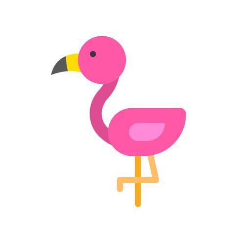 Vecteur de Flamingo, icône de style plat connexe tropical