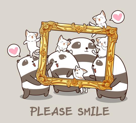 Pandas Kawaii y gatos con un marco de lujo. vector