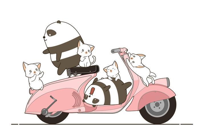 pandas et chats avec moto en style cartoon.