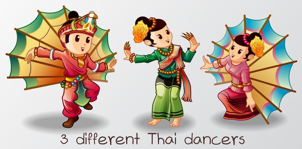 Vector isolated dancer Thai cartoon characters.