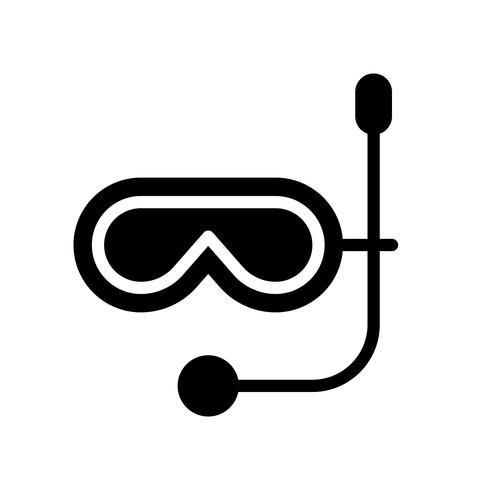 Vecteur de masque de plongée, icône de style solide connexe tropical