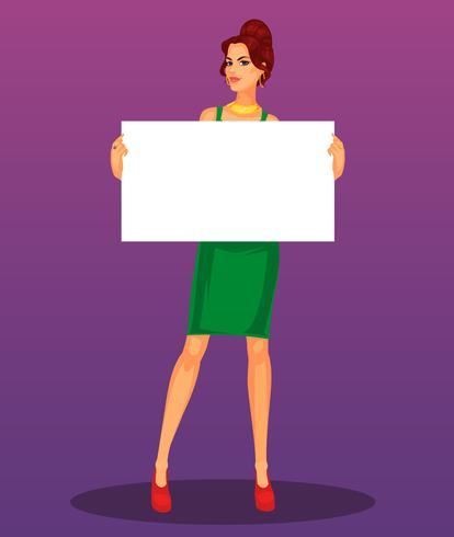 Vector sexy meisje met lege banner