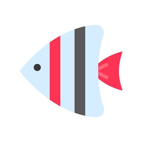 Vecteur de poisson de mer, icône de style plat connexe tropical
