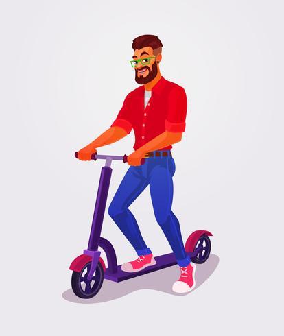 Tipo de ilustración vectorial usando patinete scooter