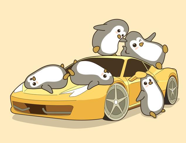 Pingouins Kawaii et voiture de sport jaune.