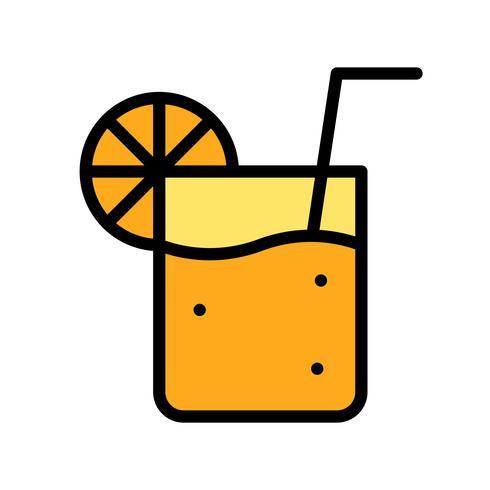 Vecteur de jus d'orange, icône de style rempli connexe tropical