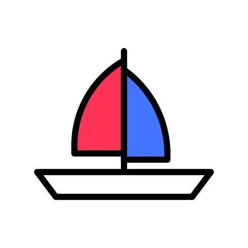 Segelbåtvektor, tropisk relaterad fylld stilikon