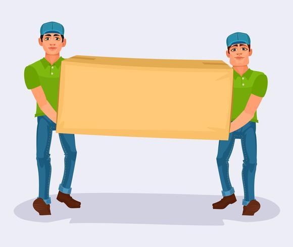 Dois homens carrega uma caixa de papelão