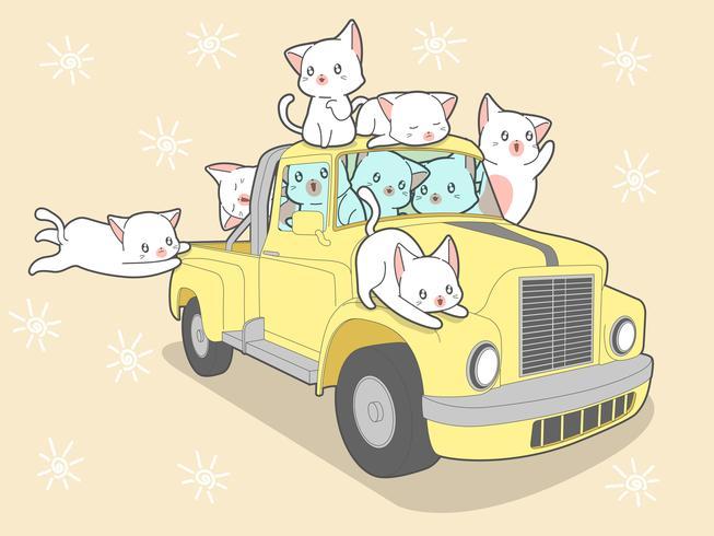 Kawaii cats with car in summer holiday. vector