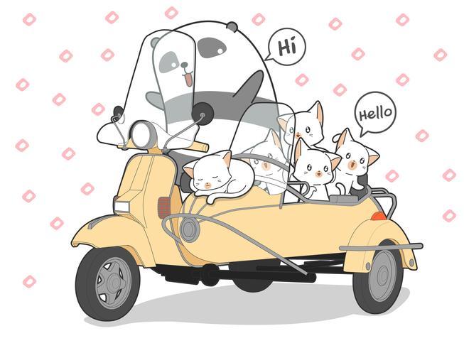 gatos kawaii desenhados e panda com motocicleta.