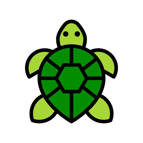 Vecteur de tortue, icône de style rempli connexe tropical