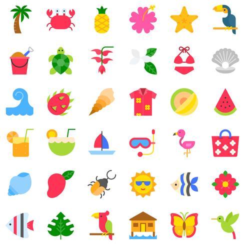 Tropical jeu d'icônes vectorielles, style plat