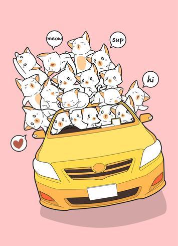 Gatos kawaii dibujados en coche amarillo.