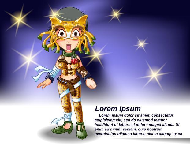 Girl Wrestler Charakter im Cartoon-Stil.