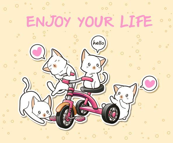 Kawaii-katter med en rosa tricycle