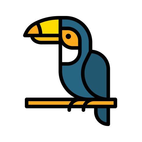 Vector de hornbill, icono de estilo relleno relacionado tropical