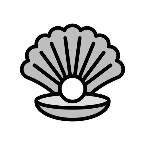 Seashell with pearl vector, tropical related filled style icon