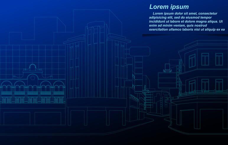 Wireframe di paesaggio urbano sulla priorità bassa della cianografia.