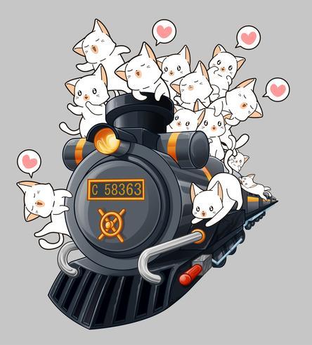Gatos kawaii na locomotiva.