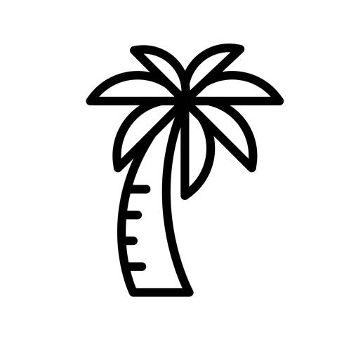 Palm tree vector, tropical related line style icon