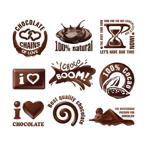 Définir les étiquettes et les logos vectoriels au chocolat.