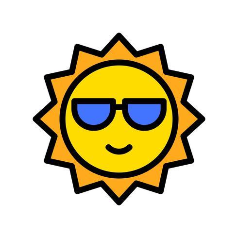 Vecteur de soleil, icône de style rempli connexe tropical