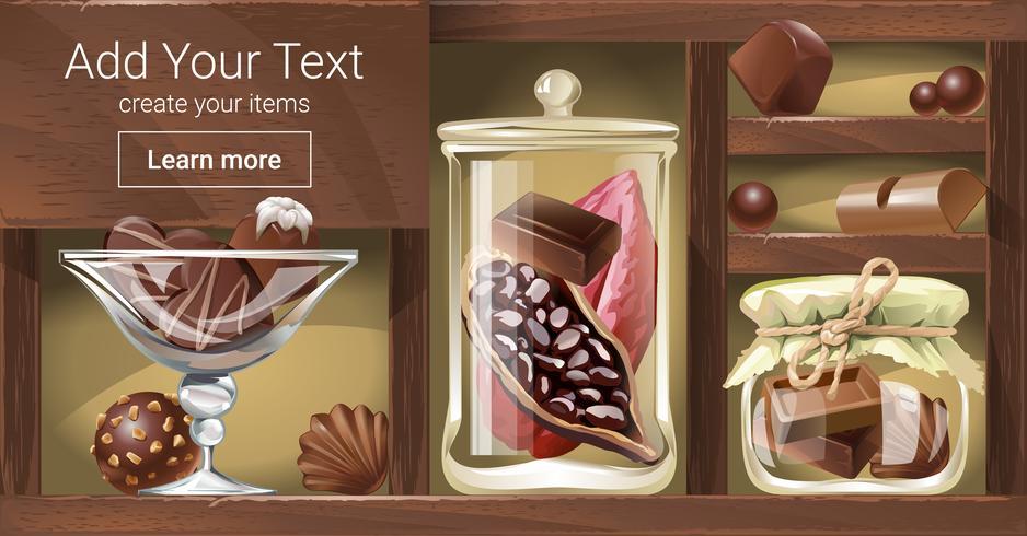 Illustration vectorielle d'un support en bois au chocolat