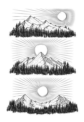 Illustrazione vettoriale disegnato a mano le montagne