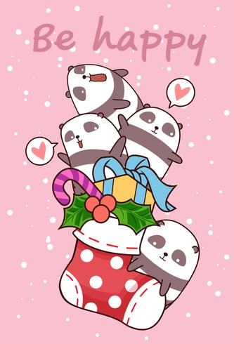 Kawaii happy pandas is in a sock