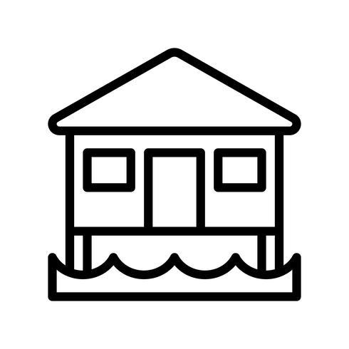 Vecteur de bungalow, icône de style de ligne connexe tropical