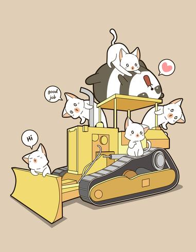 Cute cats and panda on tractor